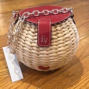 Brand new Frances Valentine straw honey pot bag